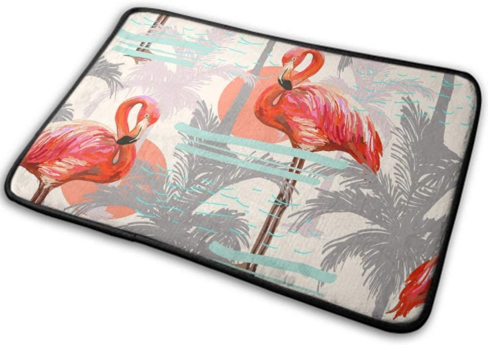 NiYoung Indoor Doormat Entrance Rug Super Absorbent Non Slip Bath Mat Machine Washable Rug Carpet for Bedroom Kitchen Living Room Bathroom, Sun Palm Tree Flamingo