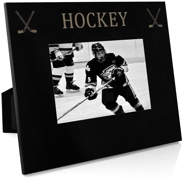 Hockey & Crossed Sticks Frame | Engraved Hockey Picture Frame by ChalkTalk Sports | Horizontal 4X6