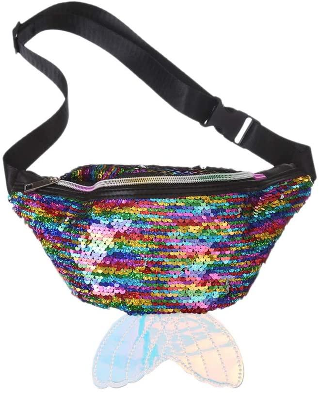 FENICAL Fanny Packs Sequins Mermaid Waist Bag Glitter Bumbag for Women Girl(Colorful)