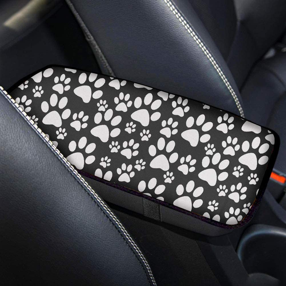 GLENLCWE White Puppy Paws Print Car Armrest Cover with Rubber Band,Soft Shoulder Cushion Center Console Pad Non Slip Universal Car Accessories