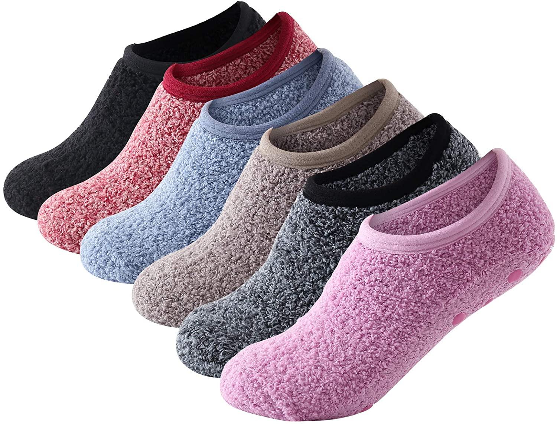 Beauttable 6 Pack Women Colorful Indoors Soft Anti-Slip Winter Fluffy Fuzzy Slipper Socks