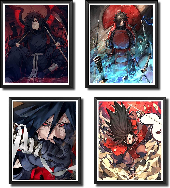 Yansang Anime Naruto Madara Uchiha Used For Bathroom Decor Wall Decor Home Decor Canvas Print Poster,Unframed,8 x 10 Inches,Set of 4 Piece