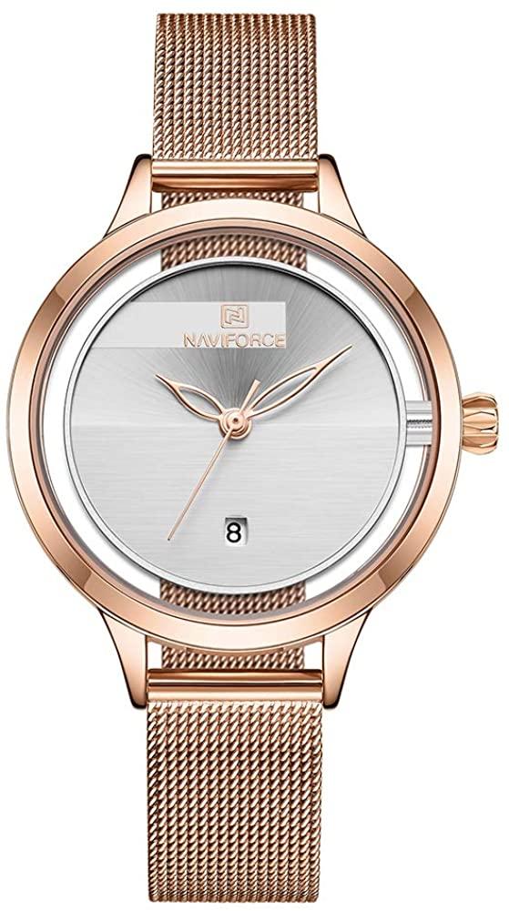 Women's Fashion Minimalist Waterproof Wrist Watch Analog Date with Stainless Steel Mesh Band