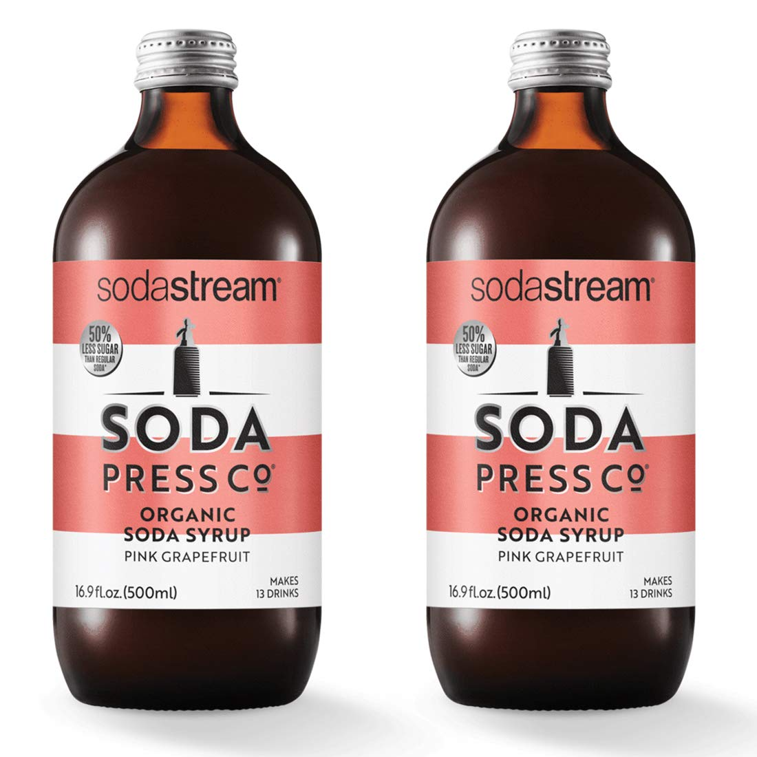 Soda Press Organic Pink Grapefruit Flavor Mix for SodaStream, 16.9 Fl Oz, 2 Pk