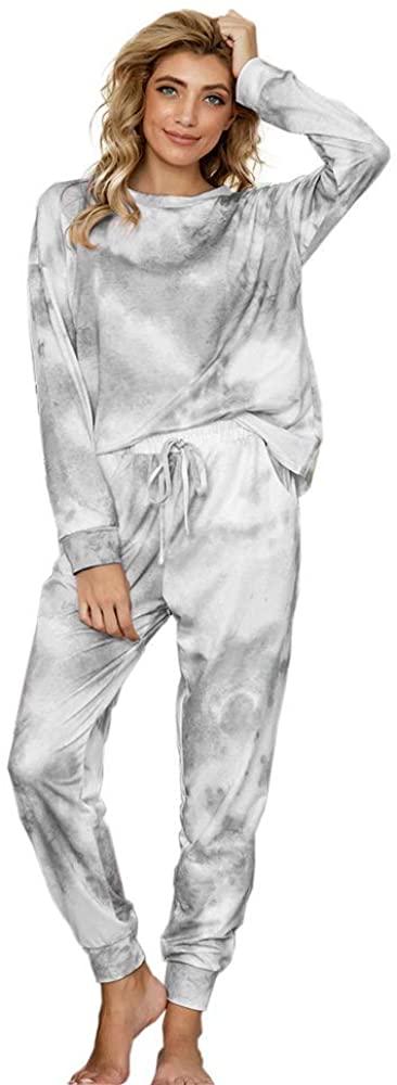 Michun Tie Dye Pajamas Set Womens 2 Piece Long Sleeve Warm Sleepwear Loose Nightwear
