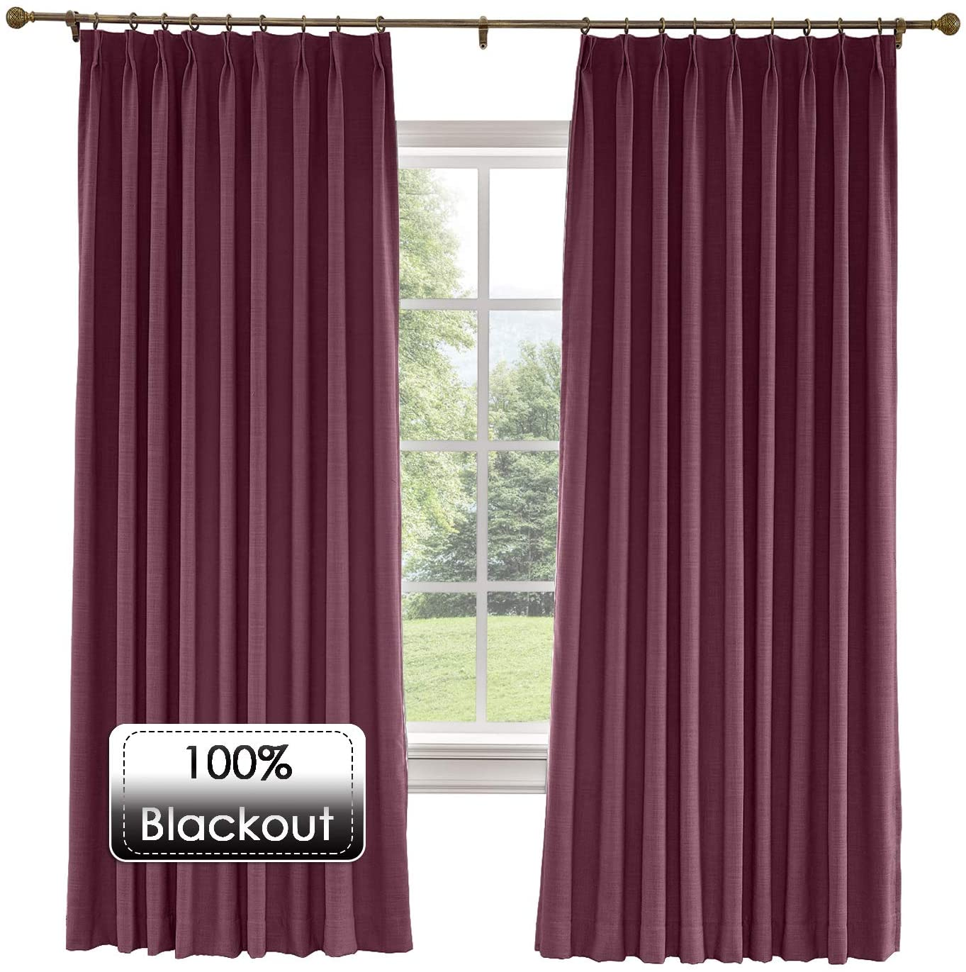 Prim Patio Sliding Door Curtains Linen Room Darkening Thermal Insulated Blackout Pinch Pleat Window Curtain for Living Room, Plum, 100x84-inch, 1 Panel
