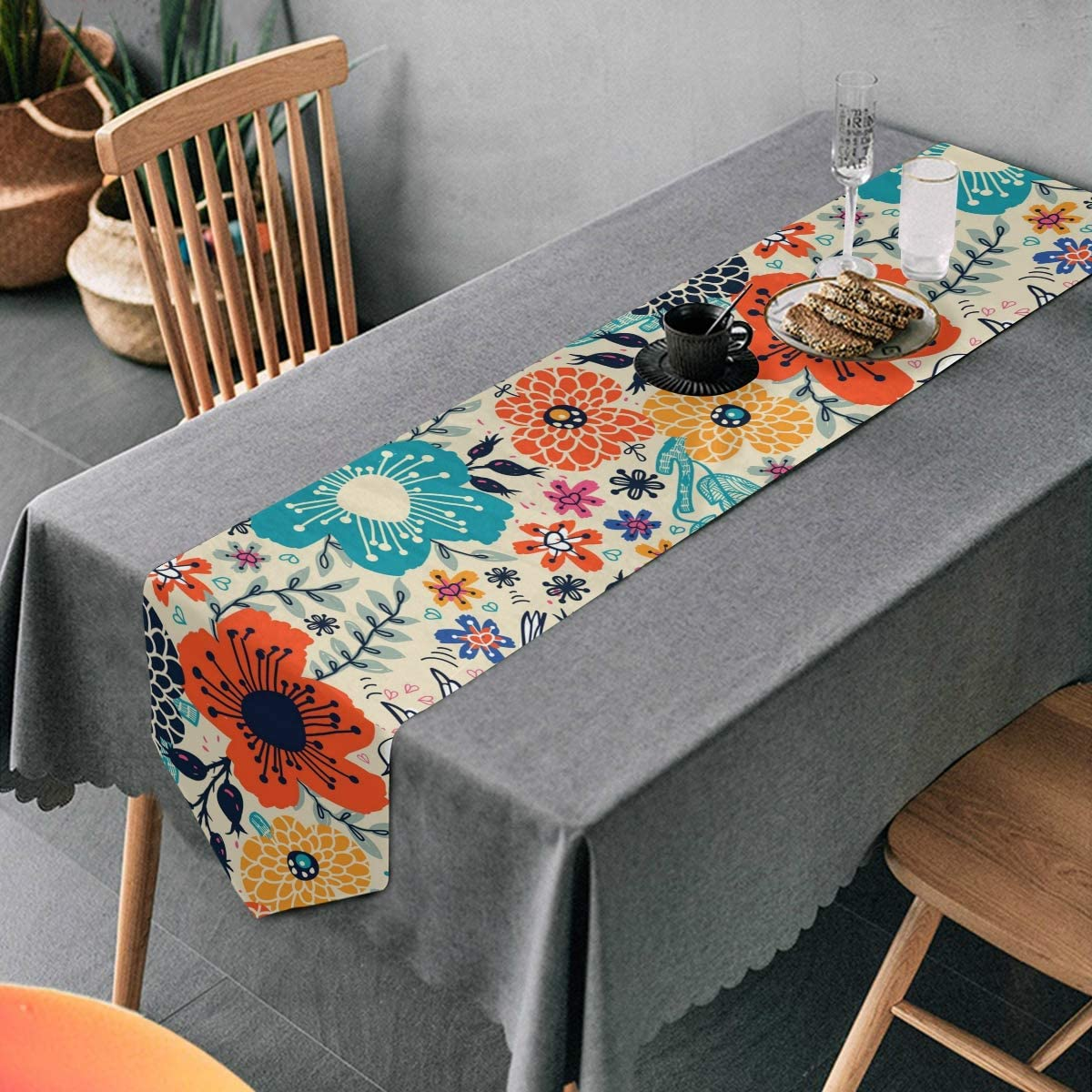 Aflyko Spring Flowers Table Runner Dining Table Decor 13