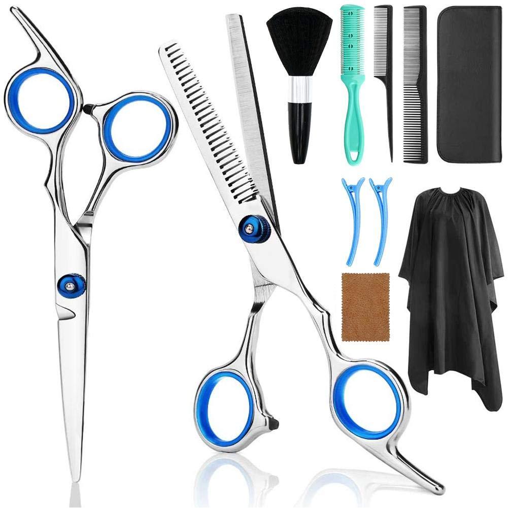 Hair Cutting Scissors Set, Professional Haircut Scissors Kit with Cutting Scissors, Comb,Cape, Clips, Black Hairdressing Shears Set for Barber, Salon, Home
