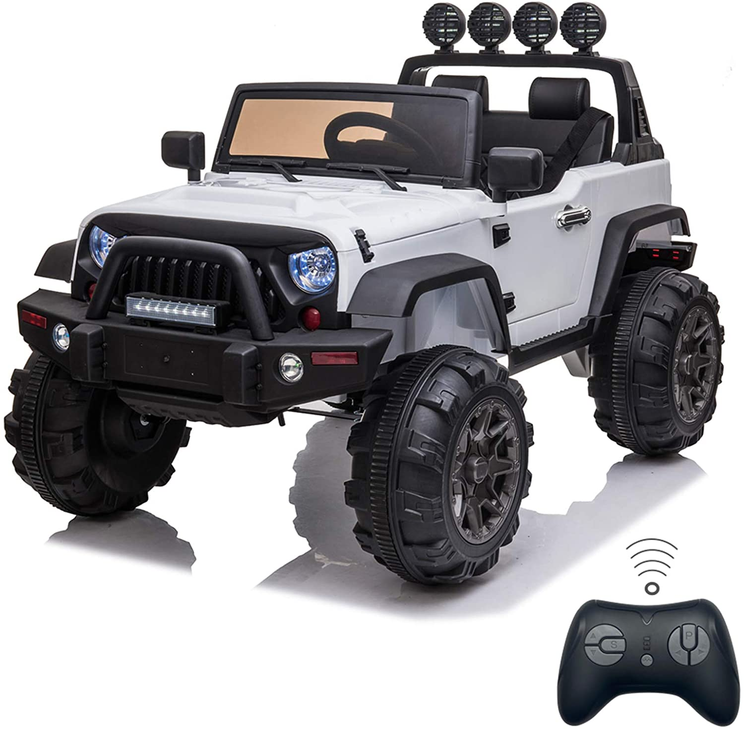 Peitten Upgrade Kids Ride On Car Off Road Truck | 12V Kids Electric Vehicles SUV Truck with 2.4GHZ Remote Control & 3 Speed Transmission & MP3 Player & LED Lights, Maximum Load 30KG/66LBS (White)