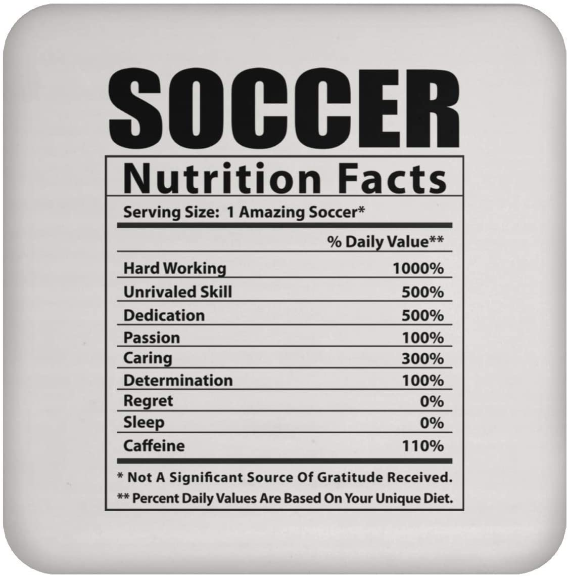 Funny Soccer Nutritional Facts White Coaster