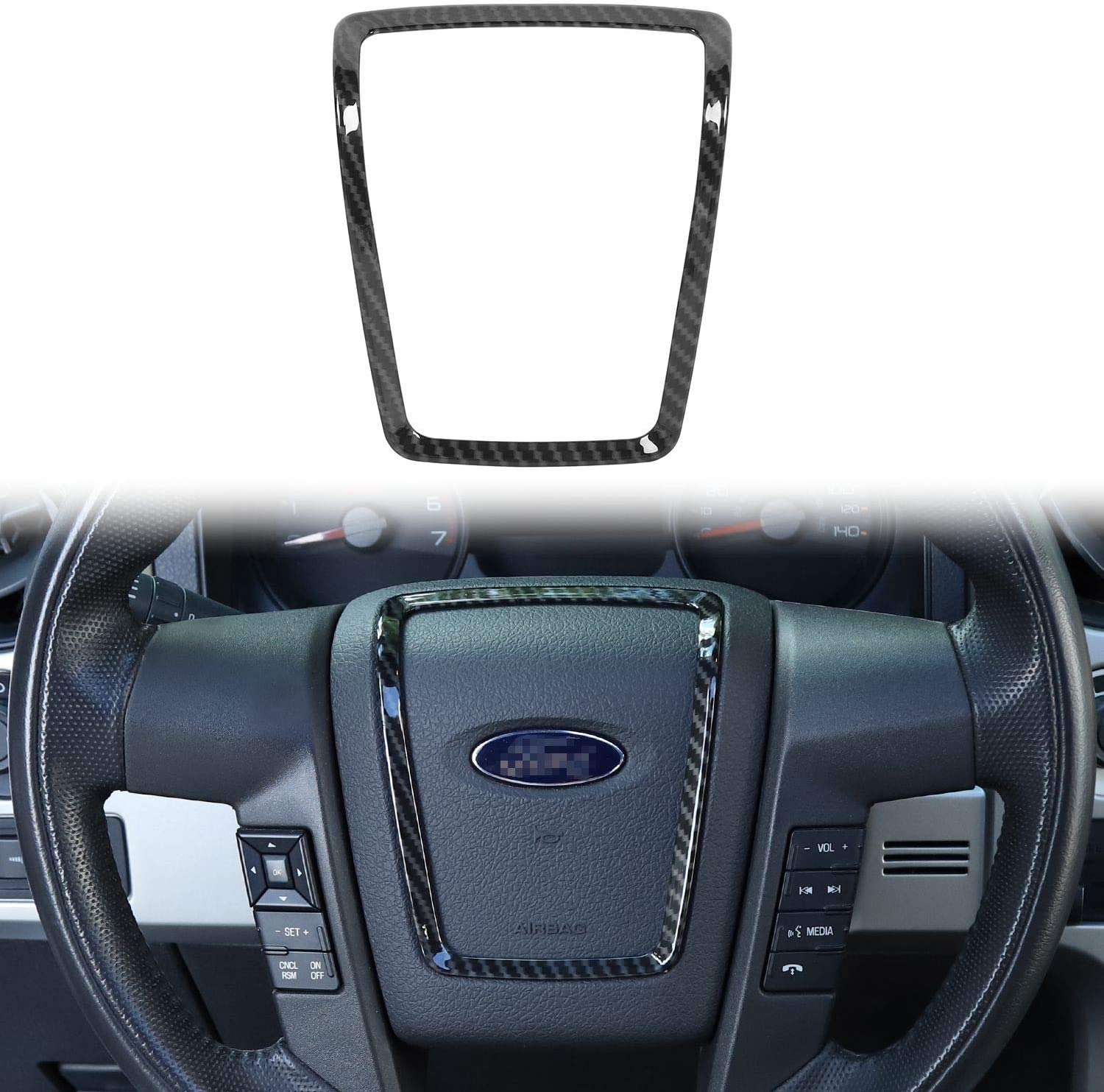 Voodonala for 2009-2014 Ford F150 ABS Carbon Fiber Steering Wheel Accessories Cover Trim, 1 pc