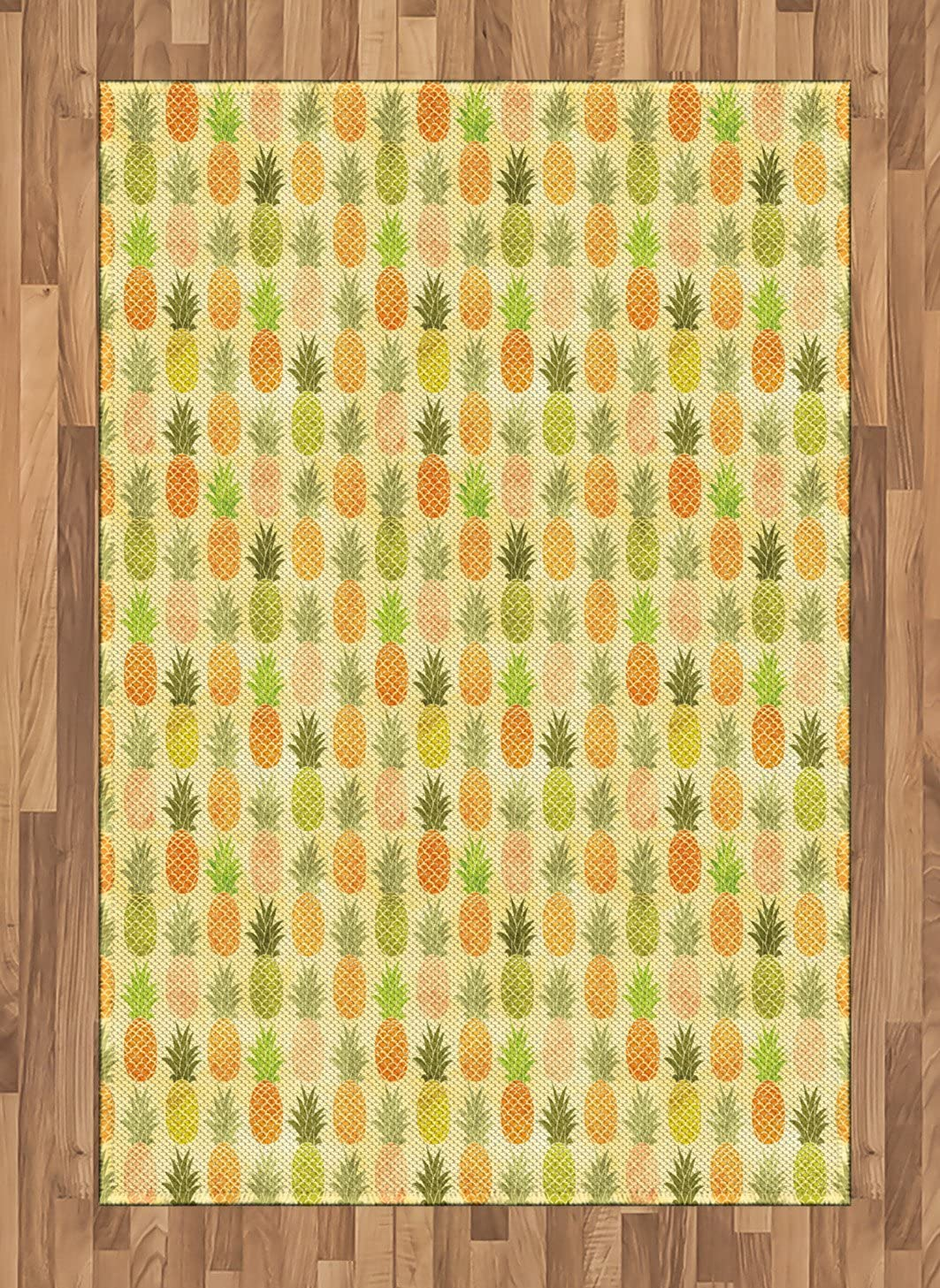 Ambesonne Vintage Area Rug, Tropical Tasty Fruit Exotic Hawaiian Holiday Theme Illustration with Scales Pattern, Flat Woven Accent Rug for Living Room Bedroom Dining Room, 4' X 5.7', Multicolor