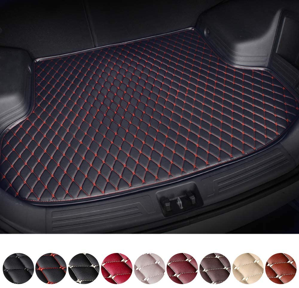 Customized Trunk Mat Floor Mat for BMW F20 F21 F34 F10 F11 730Li F02 Car Flat Coverage All Weather Trunk Protection Waterproof Cargo Mat Leather Liner Set Black & Red