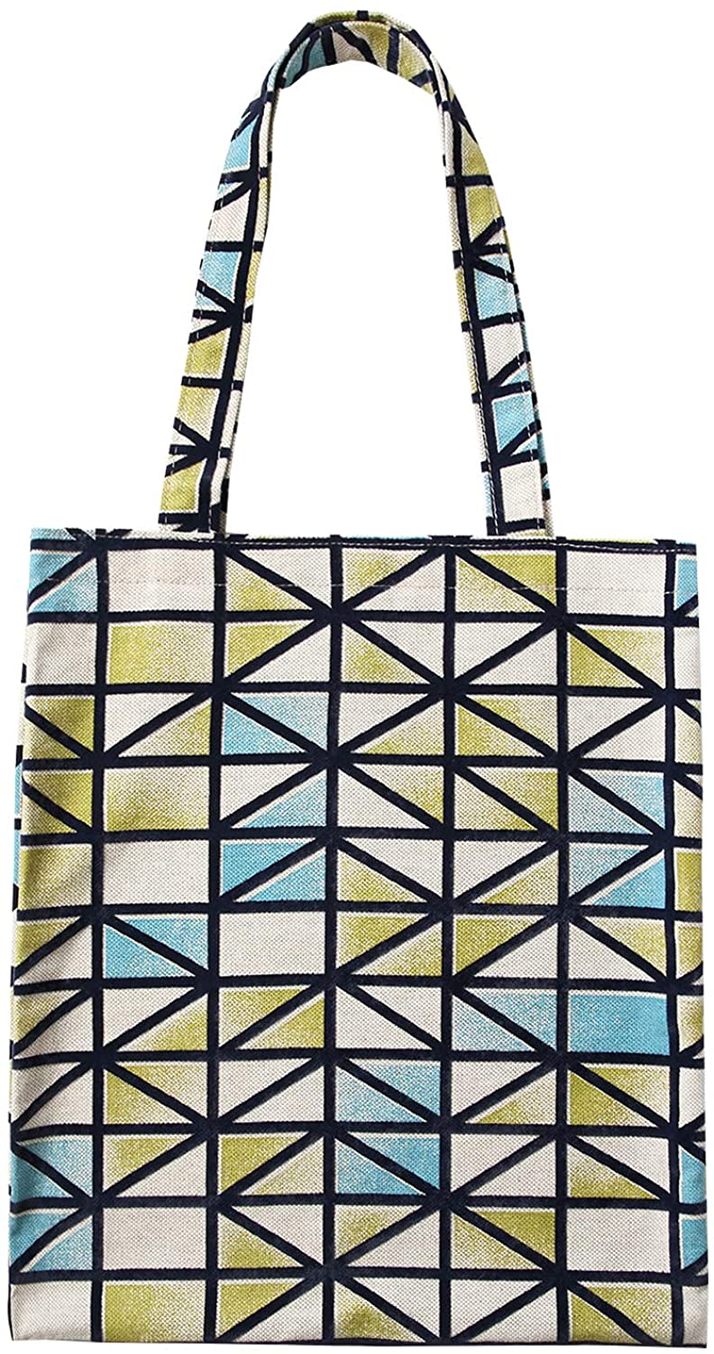 Flocking fabric tote bag, women's one - shoulder tote bag with large capacity(Green, blue and white trellis)