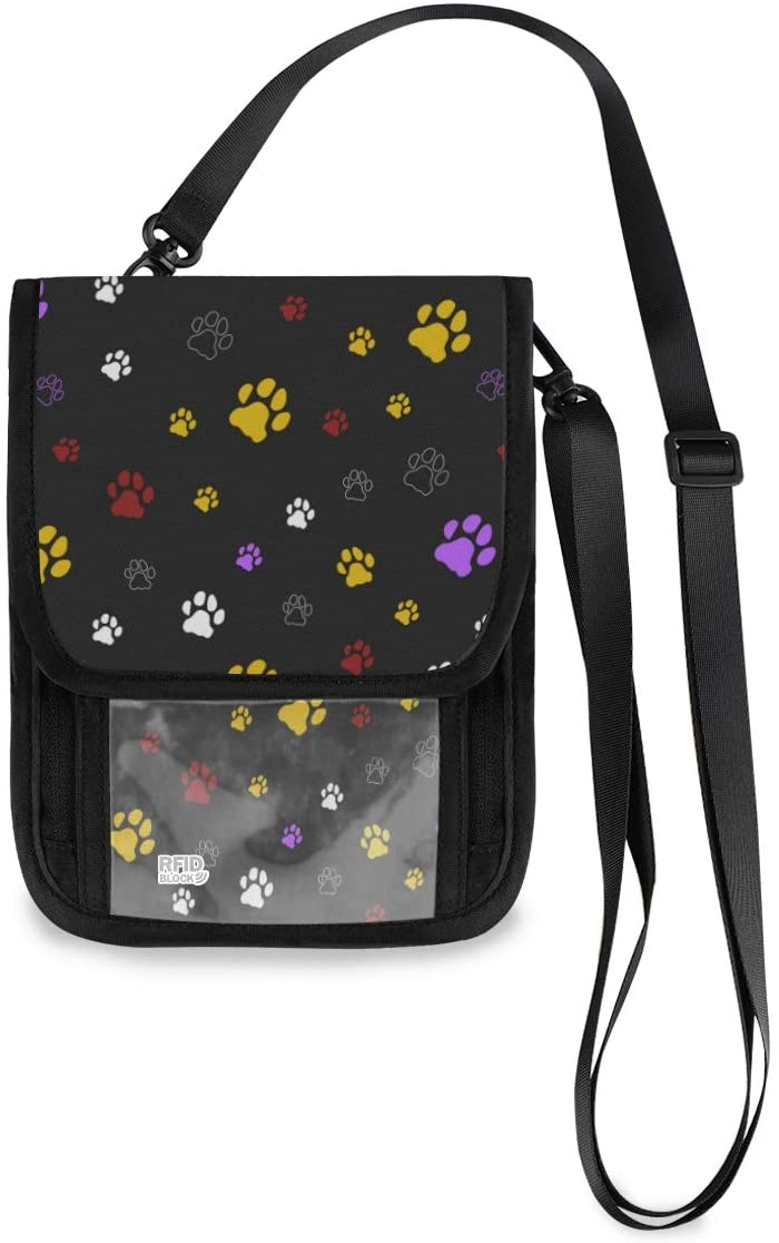 ALAZA Colorful Dog Cat Paw Print Black Small Crossbody Wallet Purse Cell Phone Bag Rfid Passport Holder with Credit Card Slots