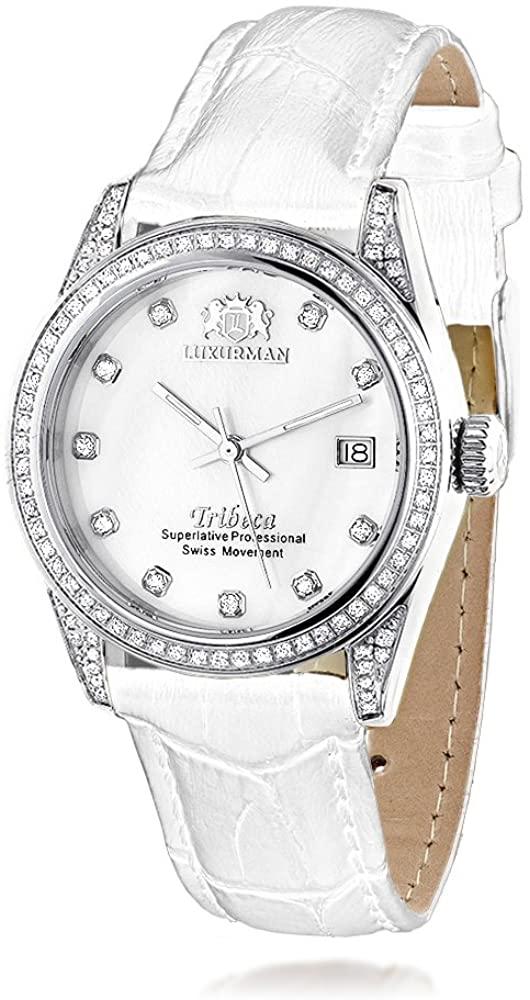 LUXURMAN Tribeca Womens Diamond Swiss Quartz Watch Stainless Steel 1.5ct w White MOP & Leather Band