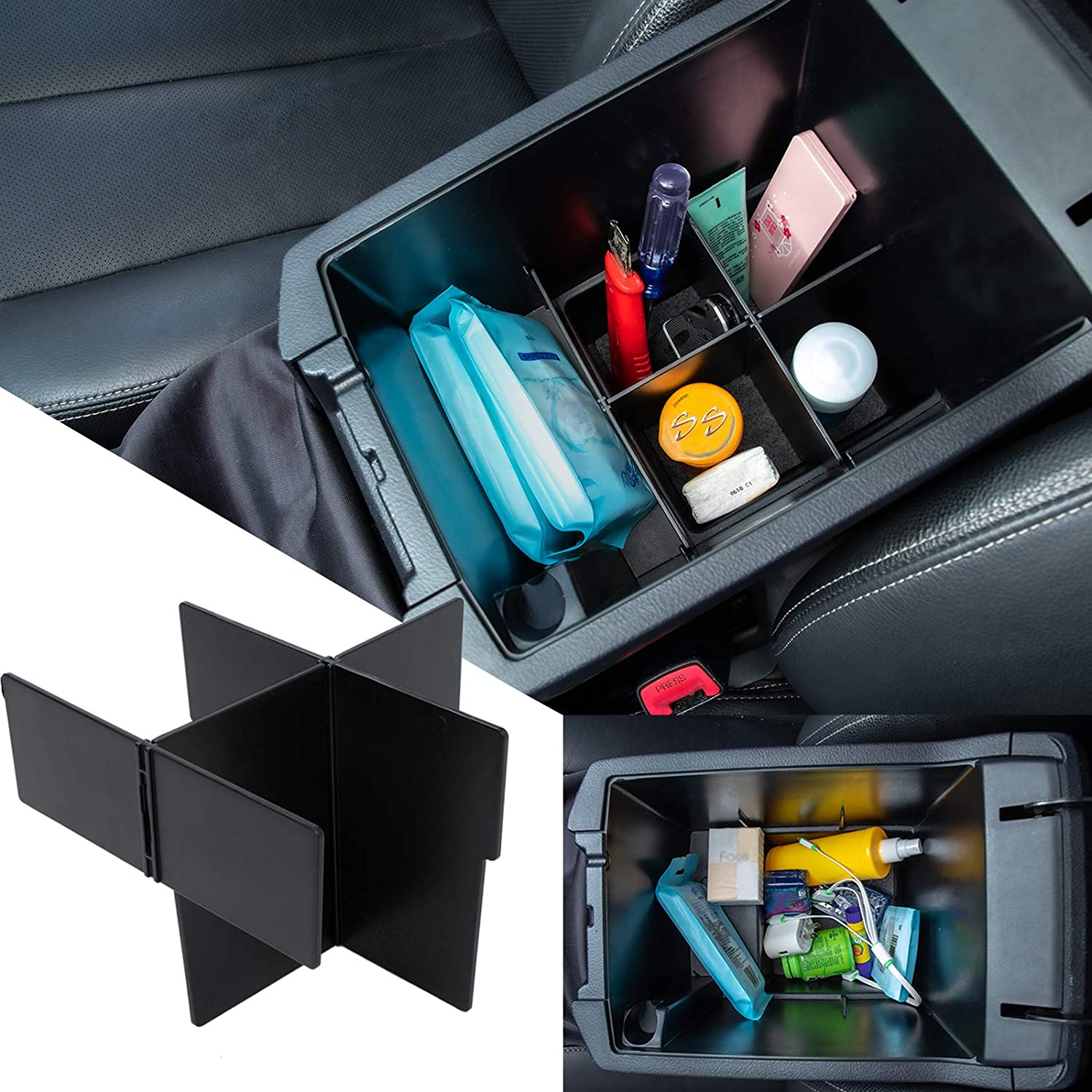 JDMCAR Center Console Organizer Compatible with Toyota 4Runner Accessories 2010-2020 2021, Insert ABS Black Materials Compartment Divider- Upgraded Version