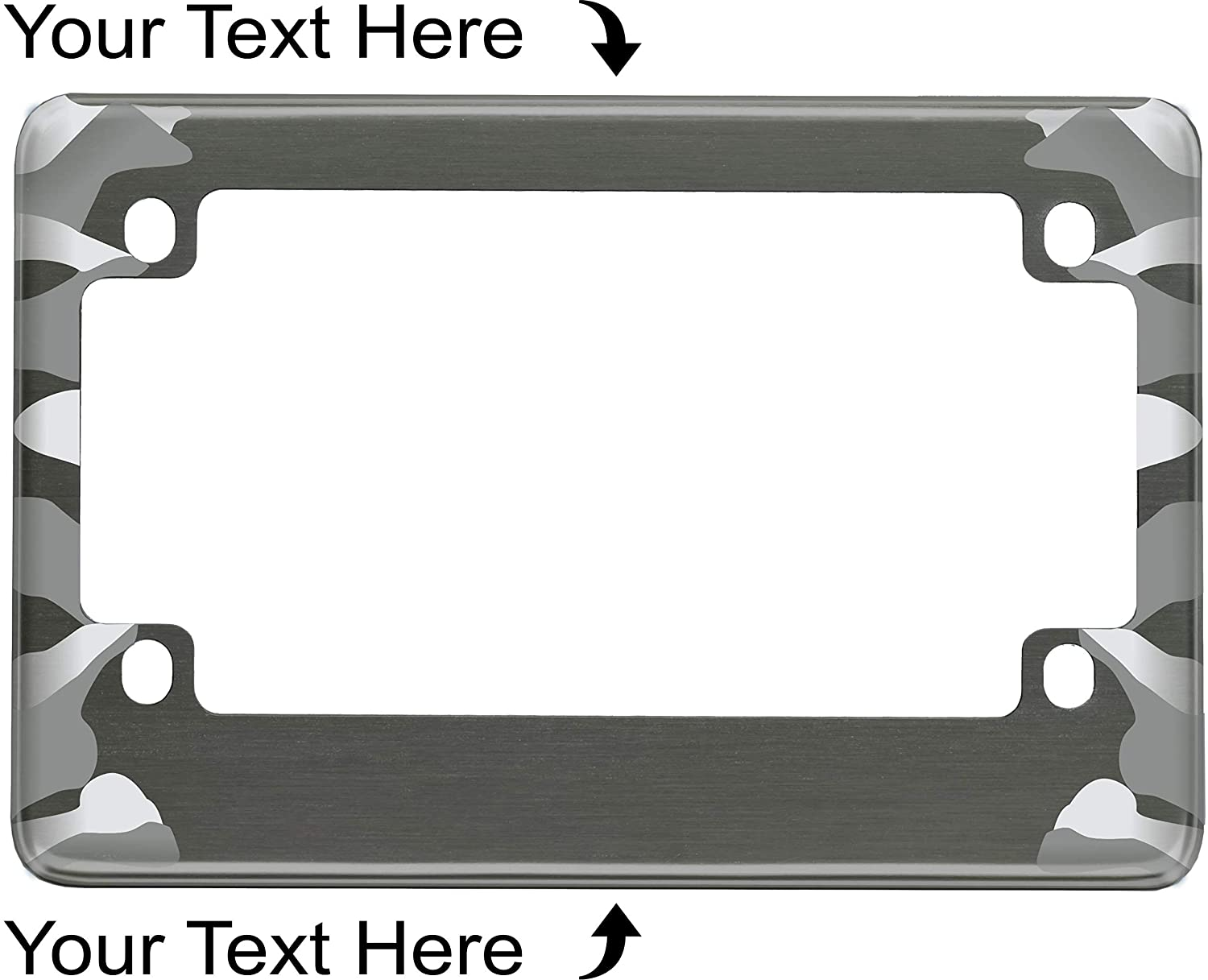 Motorcycle Personalized Camouflage Design Anodized Aluminum Custom License Plate Frame (Gray)
