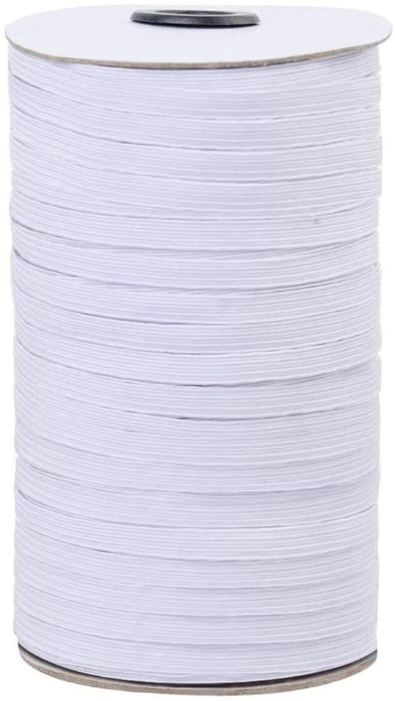 SONPP 1/8 inch Wide, 100Yards, White Heavy Stretch Elastic Band, Braided Elastic Cord, Elastic Rope, Heavy Stretch Knit Elastic Spool, for Sewing(2Pack)