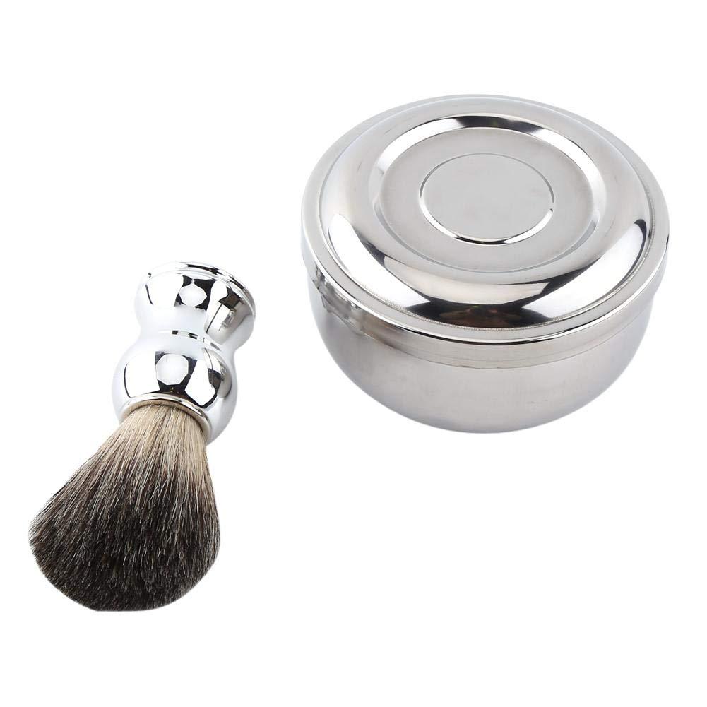 Shave Tool Kit, Alloy Shaving Soap Mug Bowl With Lid + Silver Handle Faux Badger Hair Brush Men
