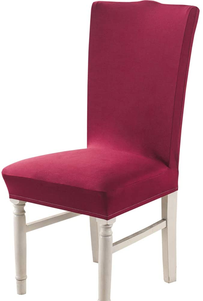 Follome Stretch Dining Chair Covers, Removable Minimalism Seat Chair Slipcovers, Washable Furniture Protector Cover for Hotel, Dining Room, Ceremony, Banquet, Wedding Party-Set of 4, Red