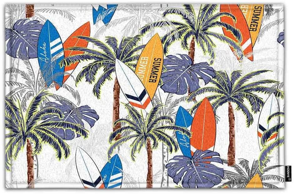 HOSNYE Palm Tree and Surfboards Doormat Indoor Door Mats Sea Summer Palm Trees Leaves Tropical Non-Slip Bath Mat Soft Absorbent Rug Shower Floor Carpet