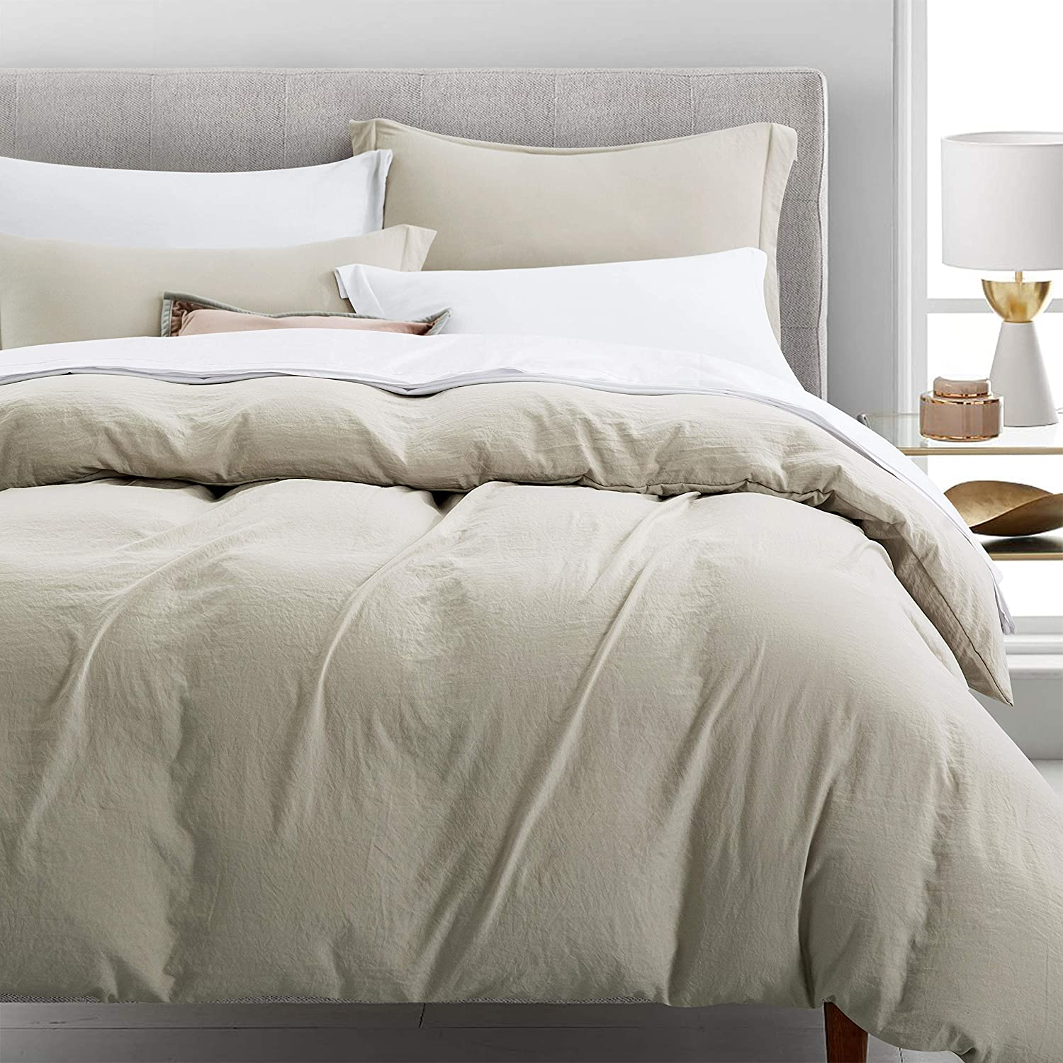 Newspin Bedding Duvet Cover Set Ultra Soft Double Brushed Microfiber 100% Washed Lightweight Comforter Cover with Hidden Zipper Closure - 3 Piece King Duvet Cover, Moon Beam
