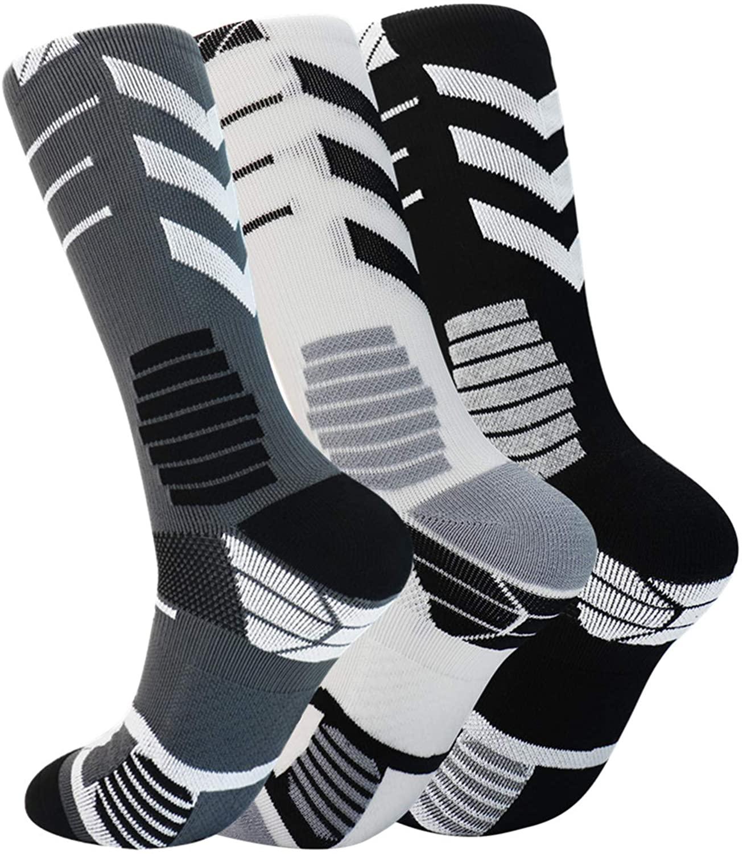 Men's Basketball Sock Breathable Outdoor Sports Socks (white grey,grey,black)