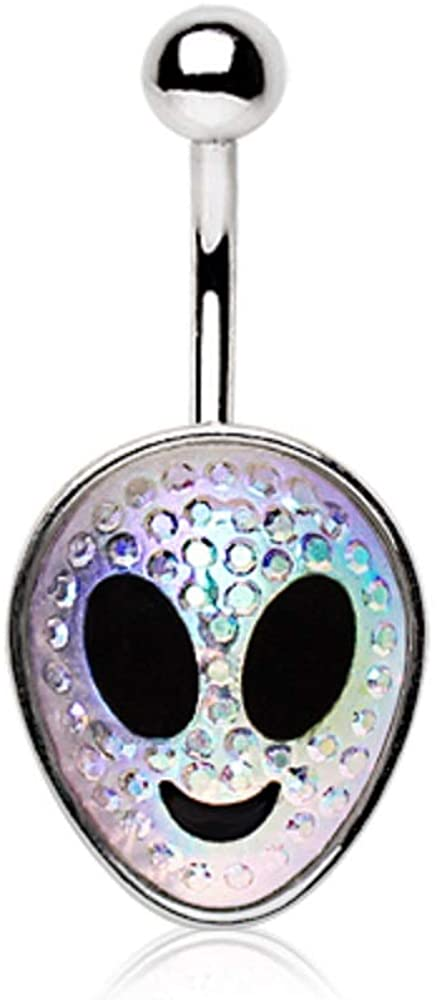 Pierced Owl 14G Stainless Steel Resin Aurora Borealis Gemmed Alien Head Belly Button Ring
