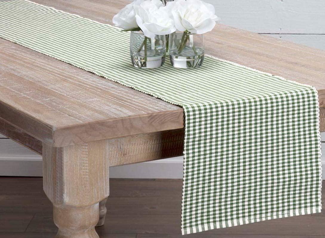 VHC Brands Harvest & Thanksgiving Farmhouse Tabletop & Kitchen-Tara Green Ribbed Table Décor, Runner 13x72