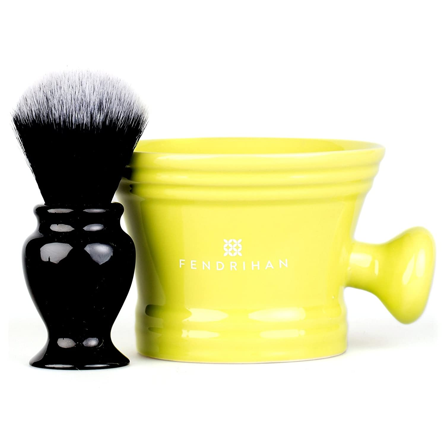 Fendrihan Synthetic Shaving Brush and Colorful Moderno Apothecary Shaving Mug Kit, The Perfect Men's Wet Shave Set (Black and White, Lime)
