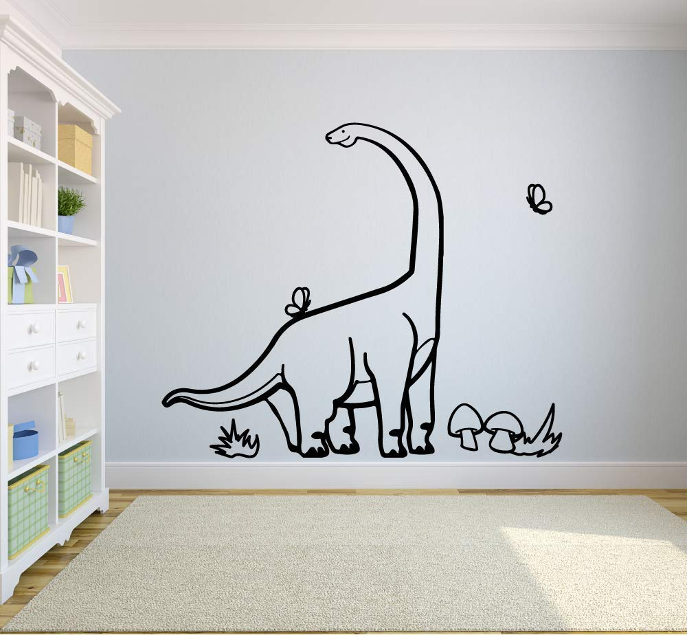 Long Neck Dinosaur Brachiosaurus Jurassic Dino Wall Sticker Art Decal for Girls Boys Kids Room Bedroom Nursery Kindergarten House Fun Home Decor Stickers Wall Art Vinyl Decoration Size (27x30 inch)