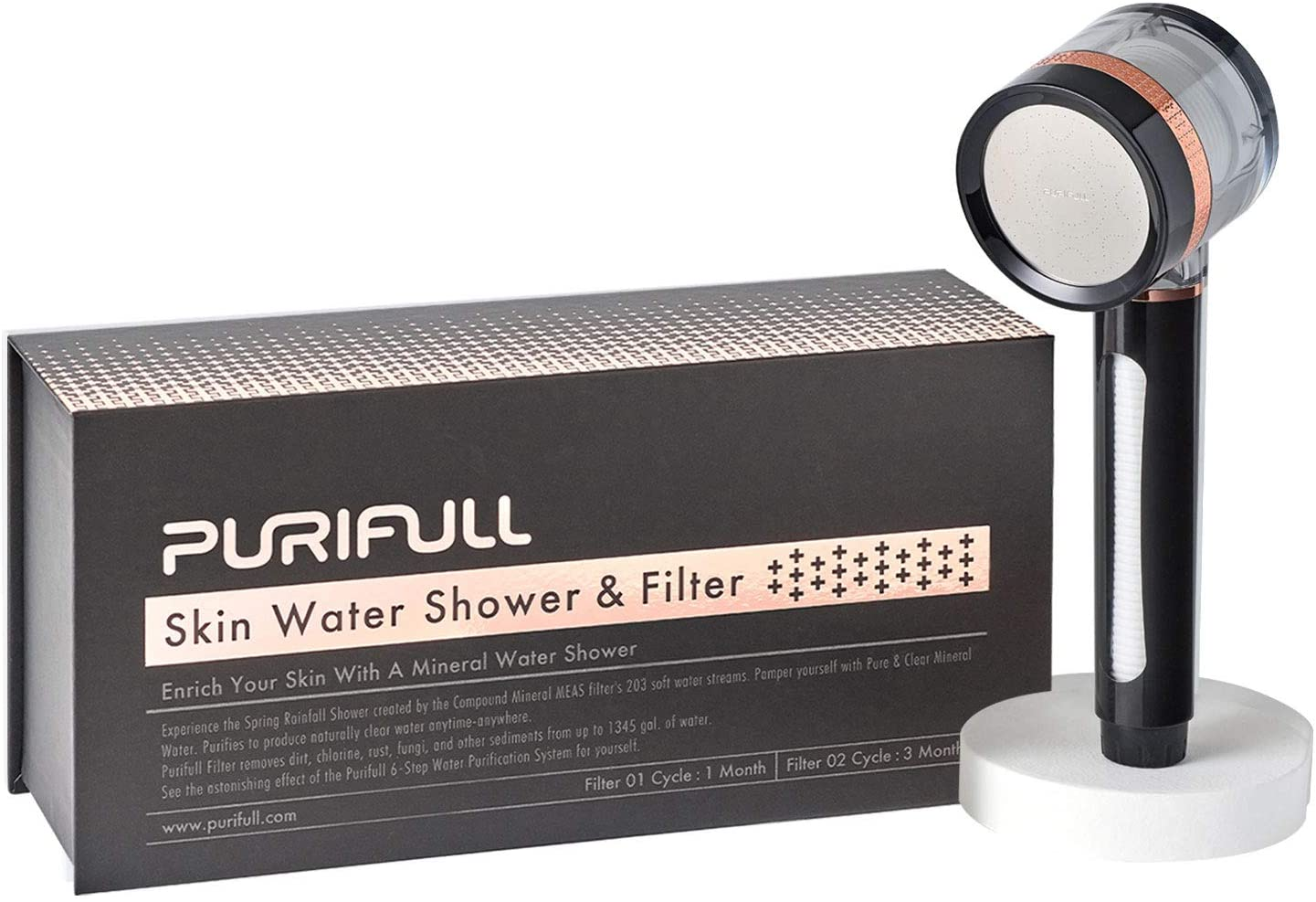 PURIFULL Mineral Skin Water Luxury All-in-1 Handheld Shower Head + Built-in 2 Filters for Chlorine and Harmful Substances Removal & Improve Skin and Hair (ROSEGOLD BLACK)