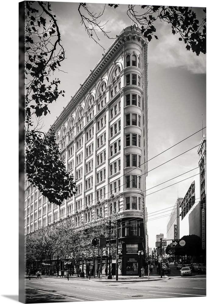 Flat Iron NYC, Black and White Photograph Canvas Wall Art Print, 16x24x1.25