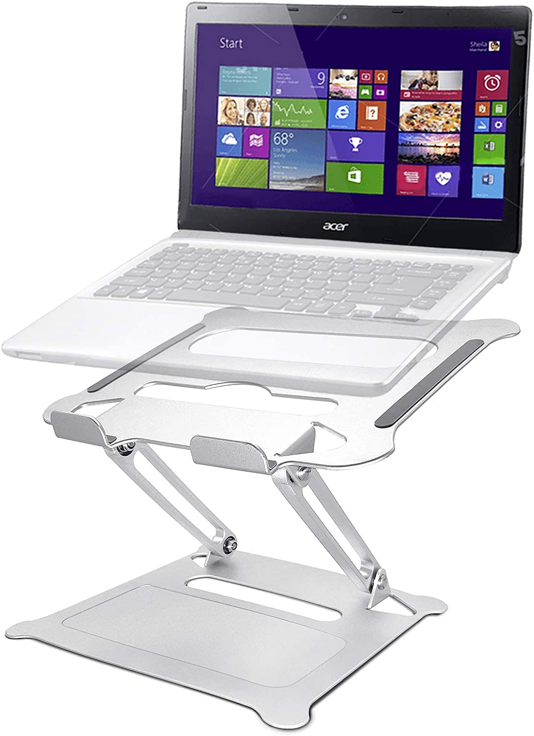 Laptop Stand, Innovaze Adjustable Laptop Riser Stand for Desk, Aluminum Portable Ergonomic Laptop Holder Adjustable Height - Compatible with up to 15.6