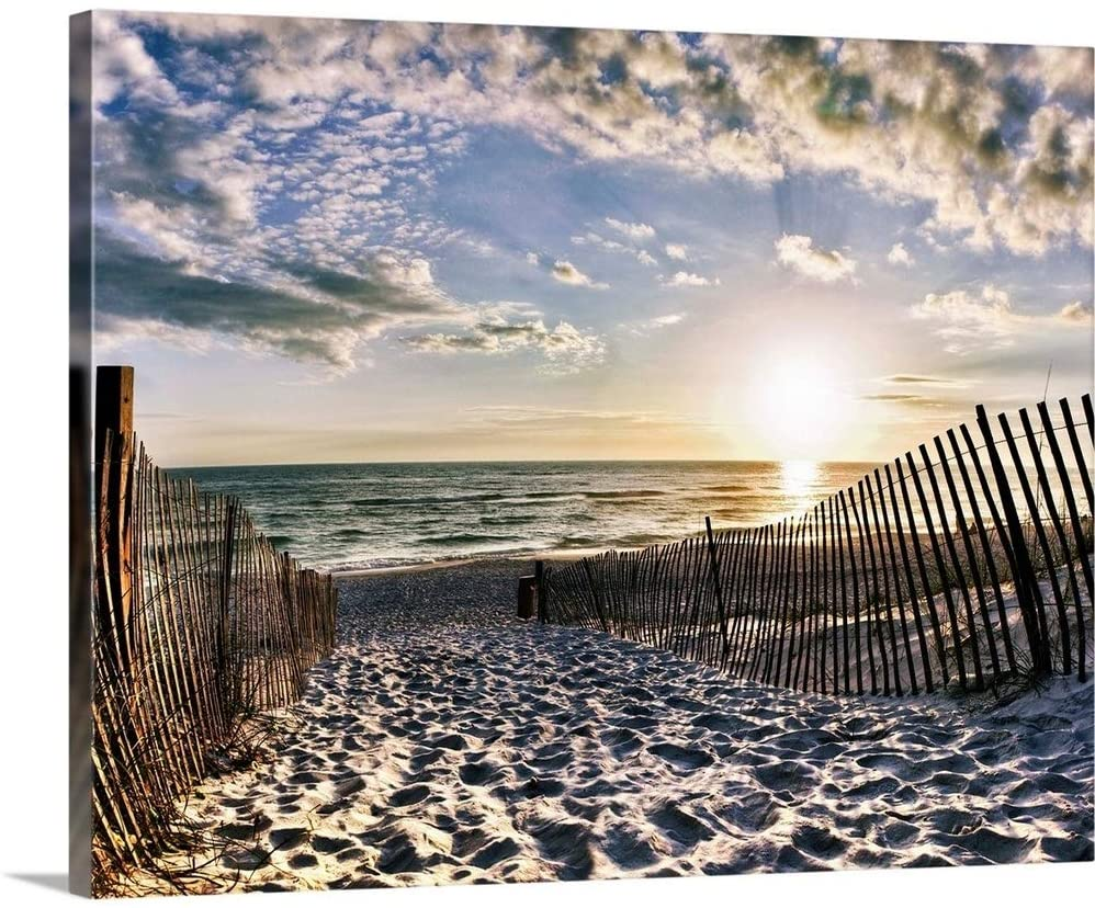 Rosemary Beach Sunset 30A Foot Prints in Sand Canvas Wall Art Print, 20