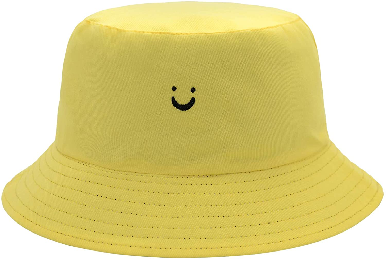 Smile Face Reversible Hat Summer Travel Bucket Beach Sun Hat Embroidery Visor Outdoor Cap