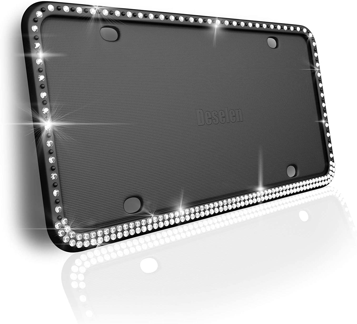 Deselen Sparkling Silicone License Plate Frame, Handcrafted Diamond Styling, Black, 1Pack