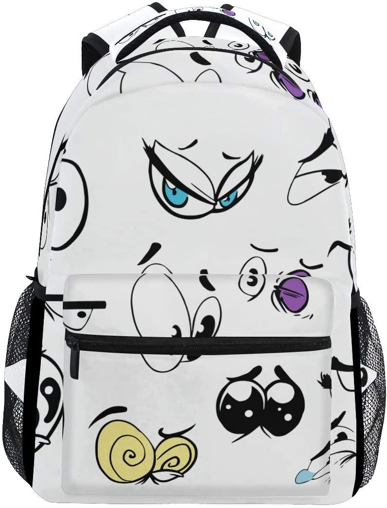 Backpack Travel Cartoon Eye School Bookbags Shoulder Laptop Daypack College Bag for Womens Mens Boys Girls