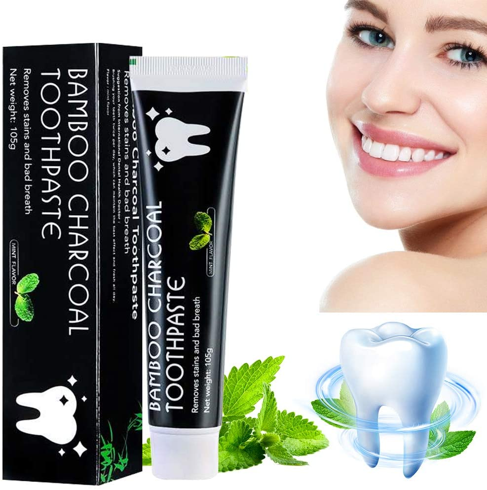 Activated Carbon whitening Toothpaste, Mint Flavored Charcoal whitening Toothpaste, Polishing Teeth, freshens Breath, deep Cleans and removes Stain(1black)