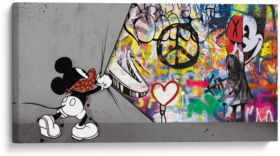 Canvas Lab Banksy Wall Art, Graffiti Wall Art & Large Pop Art Décor, Museum Quality Canvas Wall Decoration Beautiful Bright Colors - Pop Art Mouse (XL) (44x22in)