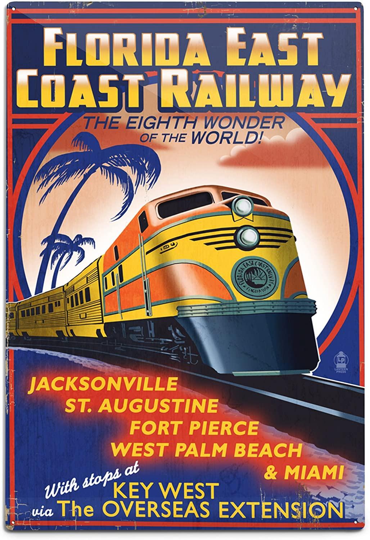 Lantern Press Key West, Florida - East Coast Railway (12x18 Aluminum Wall Sign, Wall Decor Ready to Hang)
