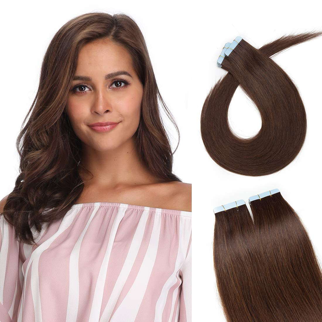 S-noilite 20Pcs 60g Remy Tape in Hair Extensions Human Hair Seamless Skin Weft Invisible Double Sided Glue in hair for women Silky Straight 24 Inch #04 Medium Brown Color