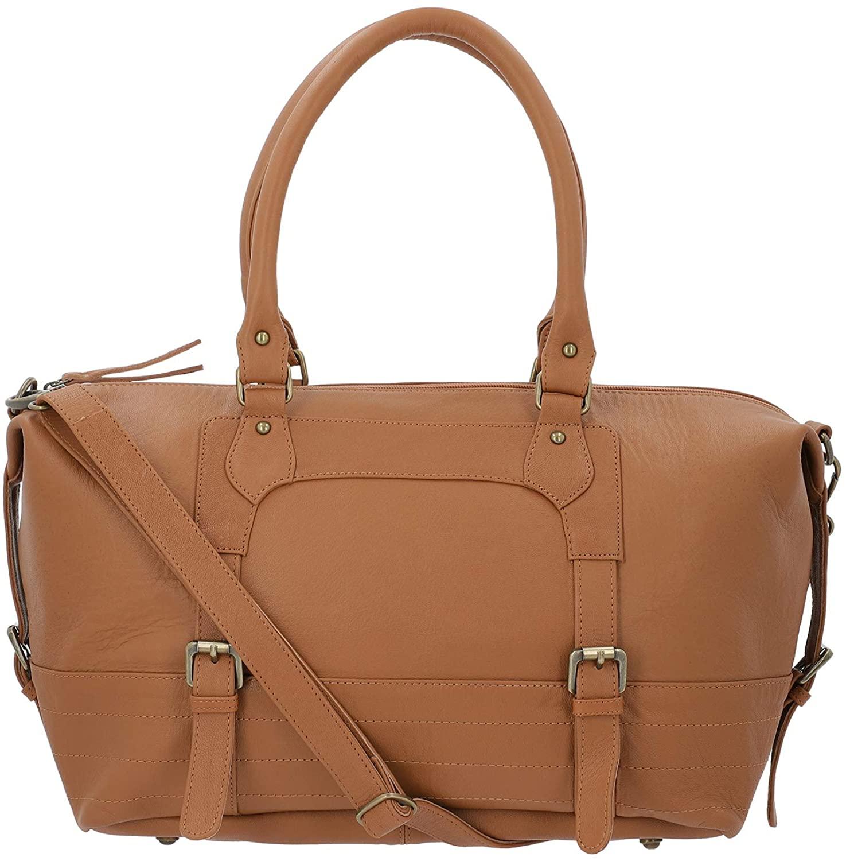 Tan Genuine Leather Luggage Bag Duffle Bag with Detachable Handle Drop Durable Material Strong Dual Handles Internal Zipper Pocket Travel Luggage Handbag