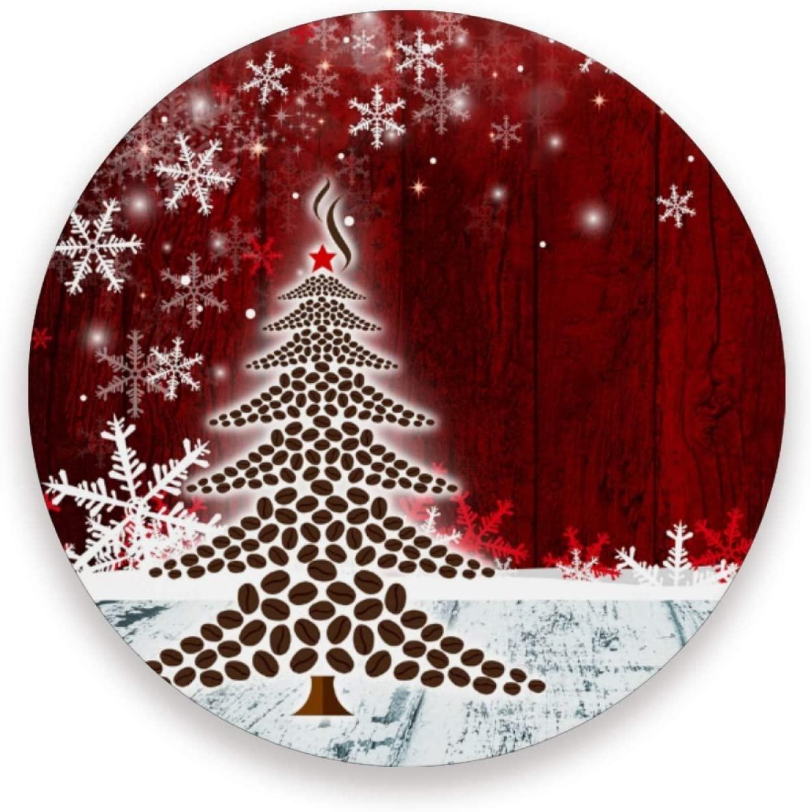 JUMBEAR Christmas Tree Snowflake Ceramic Coasters for Drinks, Set of 2 Absorbent Round Stone Coasters with Cork Base