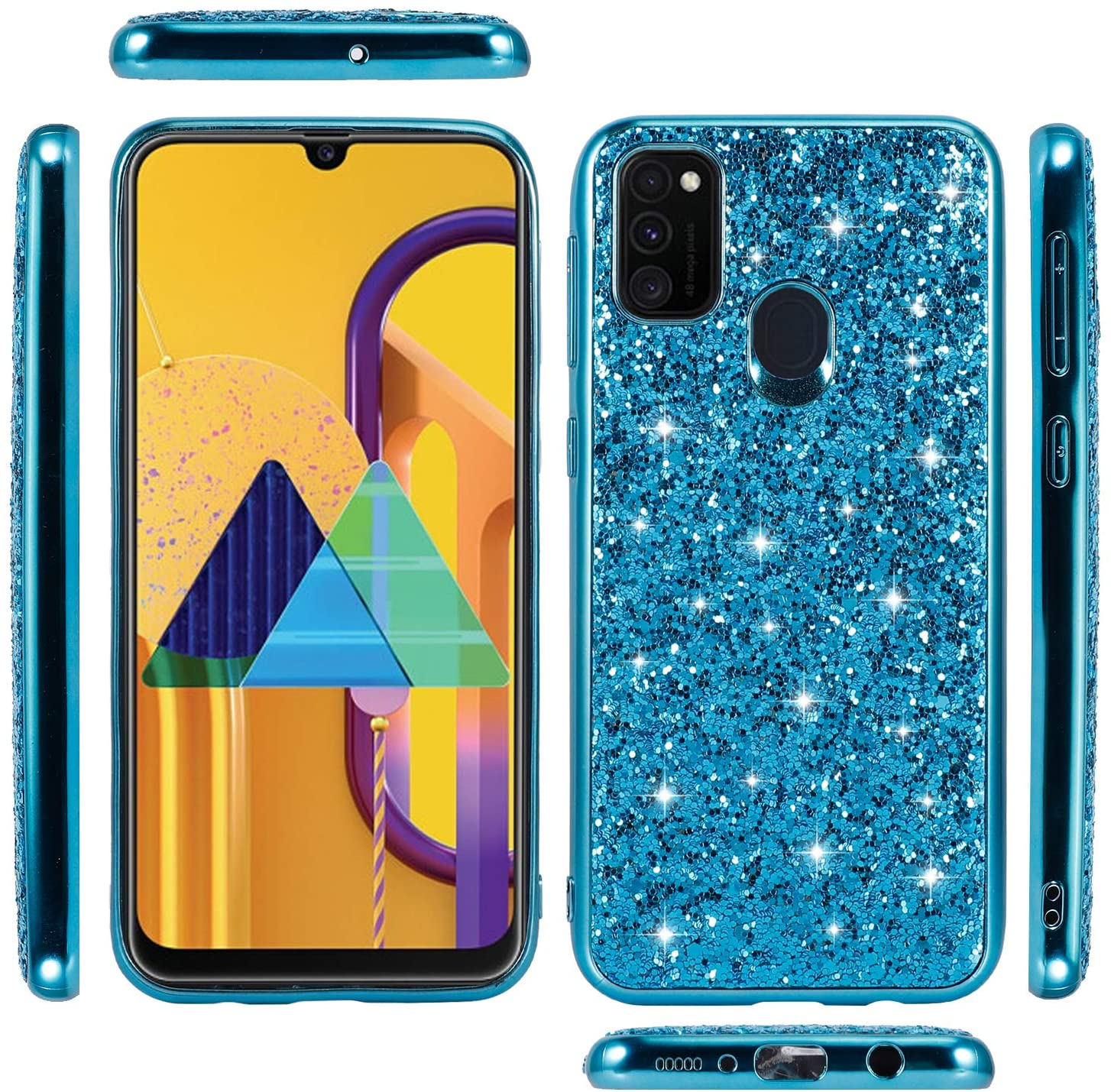 Galaxy A21S Case, Glitter Bling Bumper Sparkly Protective Case with Shock Soft TPU Bumper for Women Girls for Samsung Galaxy A21S -Blue