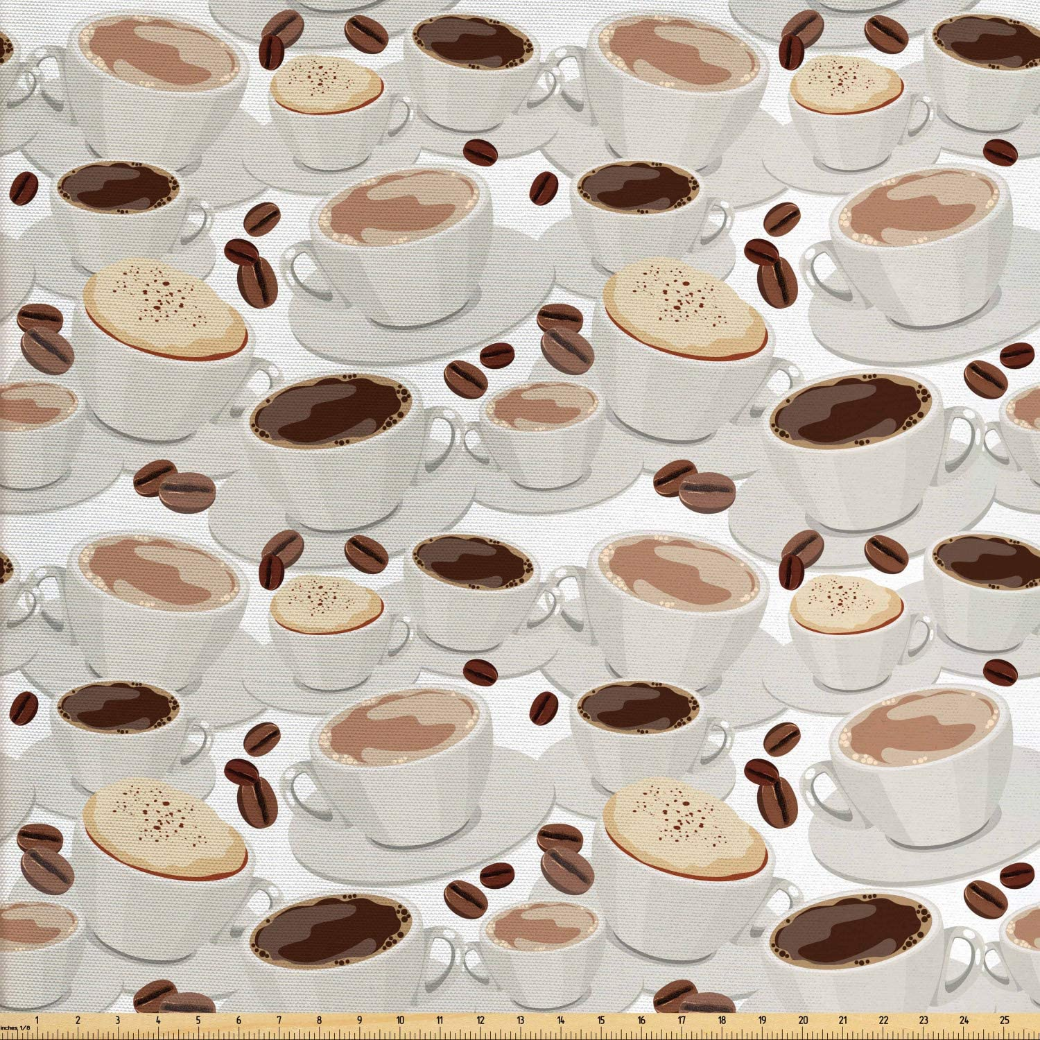 Lunarable Coffee Fabric by The Yard, Cups of Coffee Pattern with Beans Espresso and Cappuccino Drinks Illustration, Decorative Fabric for Upholstery and Home Accents, 3 Yards, White Beige