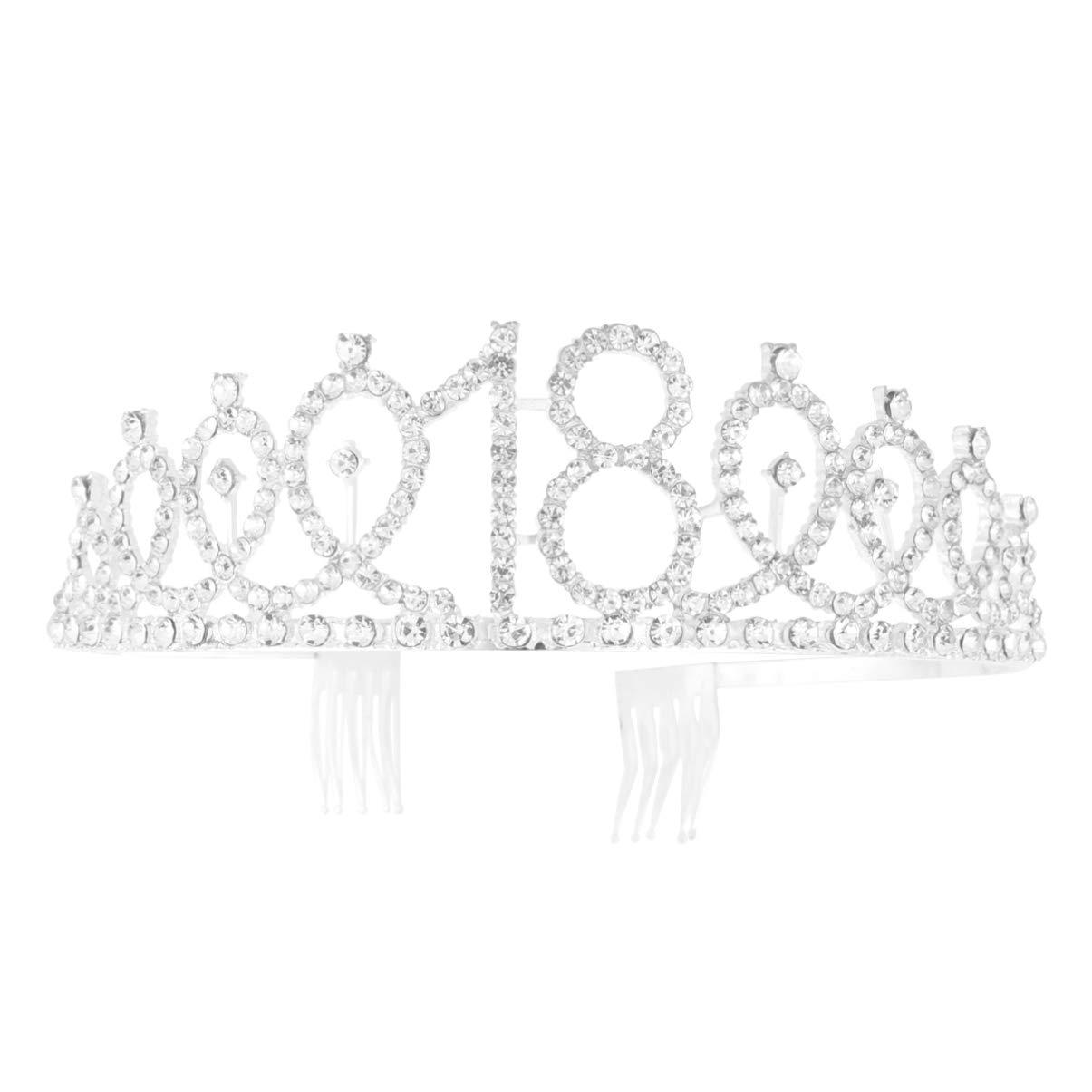 Beaupretty 18th Birthday Crystal Crown Rhinestone Princess Tiara Headband with Hair Comb for Birthday Party Wedding Bridal Decor (Silver)