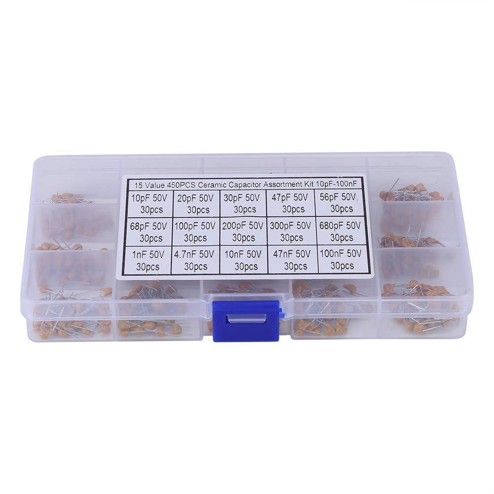 Ceramic Capacitor, Ceramic Capacitor Assortment 450pcs 15 Value 10pF-100nF Multi-Layer Ceramic Capacitor Assortment Kit with Box