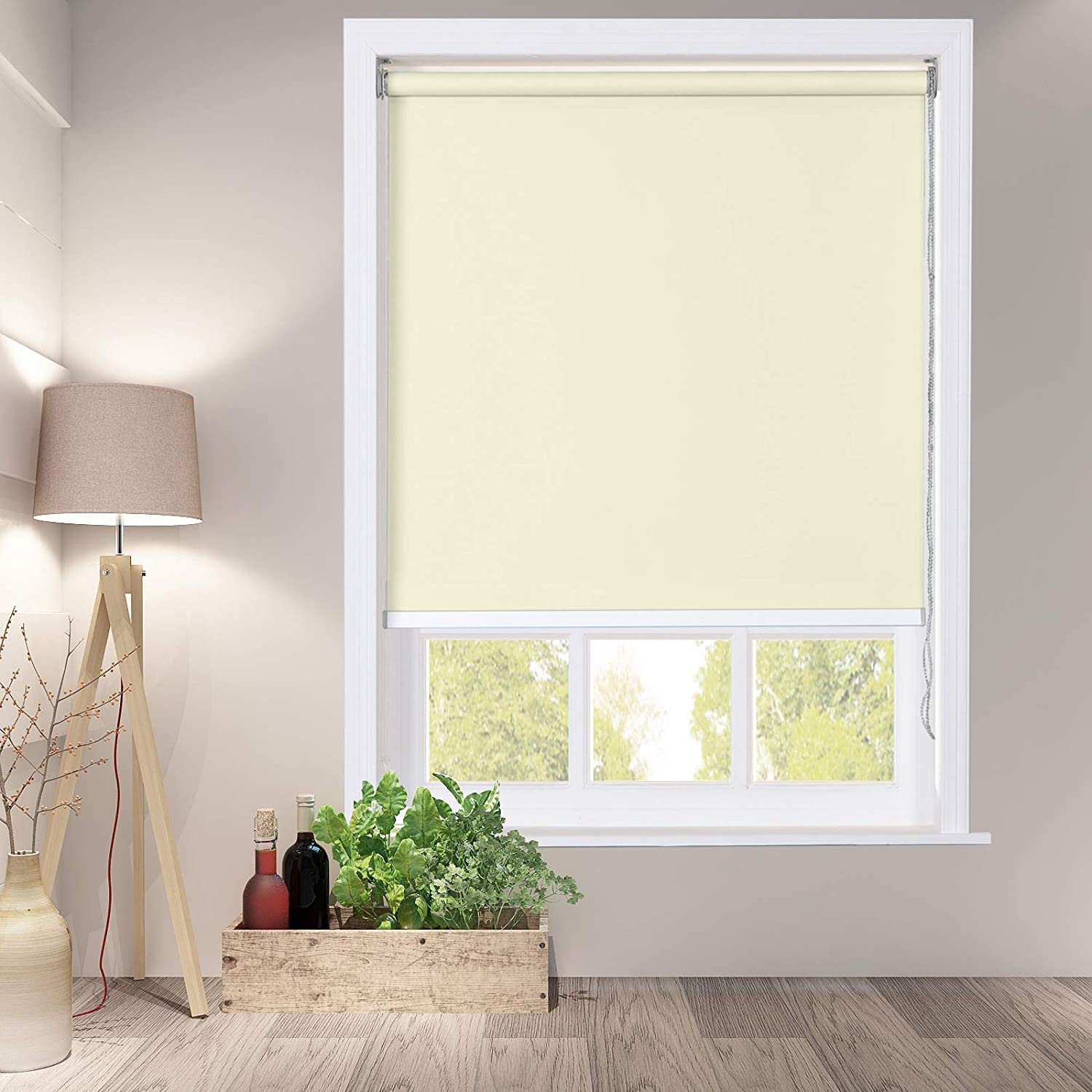 ChadMade 100% Blackout Roller Blind for Window Thermal Insulated Waterproof Fabric Custom Roller Shade Beige for Bedroom Bathroom Kitchen